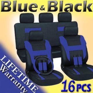 16pc Set Blue Black Auto Car Seat Covers FREE Steering Wheel Belt Pad
