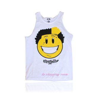 Men Funny T Shirt Wiz Khalifa Tank Top white color Free Ship U.S