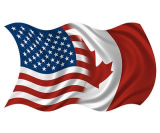 Canadian Waving Flag USA Canada Car Vinyl Bumper Sticker Decal SFV
