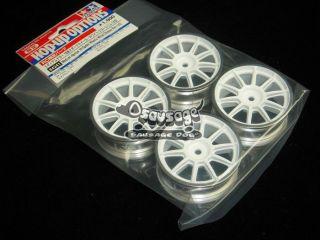 Tamiya 84241 RC Medium Narrow 10 Spoke Wheels White/Chrome Rims (±0)