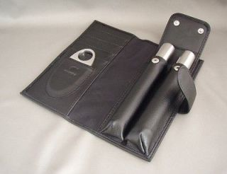 Stainless Steel Cigar Tube x 2 + Cigar Cutter Set with Carrying Case