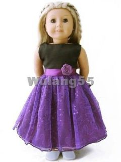 Handmade Purple Party Dress fits 18 American Girl doll