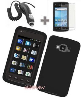 RUBBER BLACK SILICONE SLEEVE SKIN CASE+CAR CHARGER+LCD for Samsung
