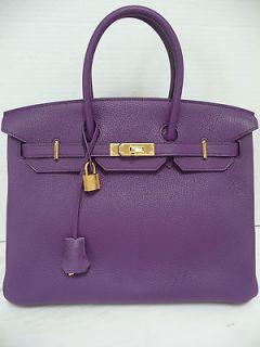 HERMES BIRKIN 35 Clemence Leather Ultra Violet Taurillon Gold HW Bag