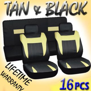16pc Set Tan Black Auto Car Seat Covers FREE Steering Wheel Belt Pads