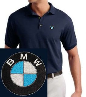BMW EMBROIDERED Car Logo Navy Blue Polo Shirt NEW