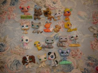 Lot of 19 Littlest Pet Shop Toys Cats Dog Sheep Zebra Crab Cheetah