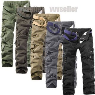 MENS CASUAL MILITARY POCKETS CARGO CAMO COMBAT PANTS TROUSERS SIZE 31