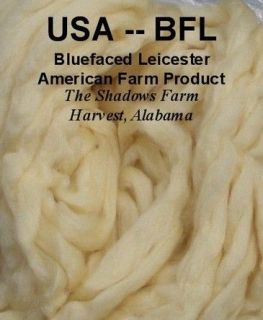 USA BFL Blue Face Leicester White Wool Roving Top Spinning Wheel