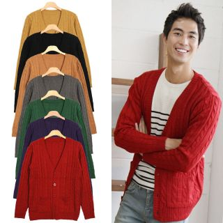 Hi Korean Fashion]Cable Knitted Cardigans Mens Sweaters Tops Vintage