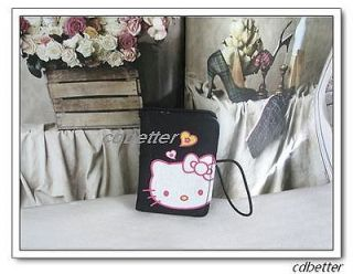 Lovely Portable Black Fabric Hello Kitty ID Bank Credit Card Holders