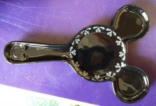 Disney Mickey Mouse Pattern Black Spoon Rest NEW