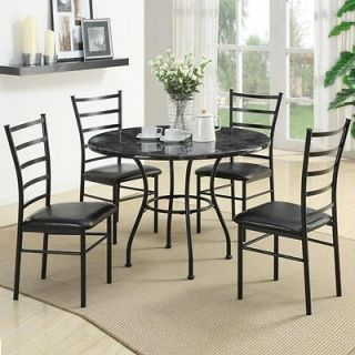 Dinettes 5 Piece Casual Black Dining Set w/ Faux Marble Top Round