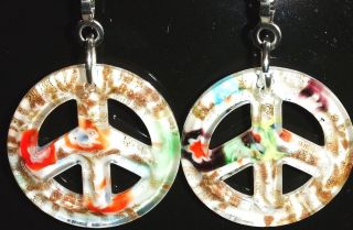 PAIR LIGHT LAMP CEILING FAN PULL PEACE SIGN GLASS WHITE GOLDSAND 40MM