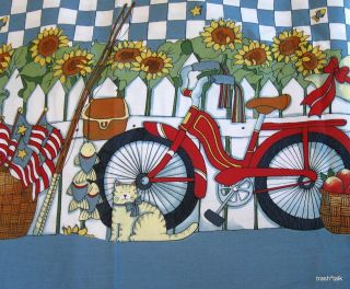 Susan Winget cotton fabric BORDER print Red Bike Bicycle sunflower BTY