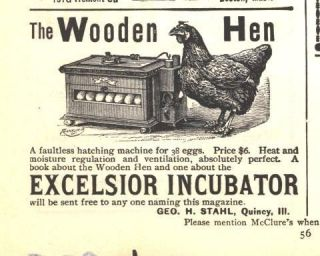 1898 ad b excelsior incubator wooden hen stahl