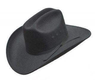 BLACK FELT COWBOY CATTLEMAN HAT   Black Band   LINED   New   Size 7 3