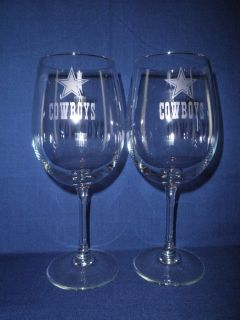 Hand Etched Dallas Cowboys wine glasses Set of 2