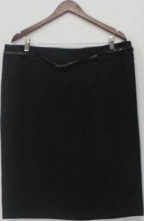 Charter Club Sz 14W Ponte Knit Straight Skirt with Skinny Belt Black