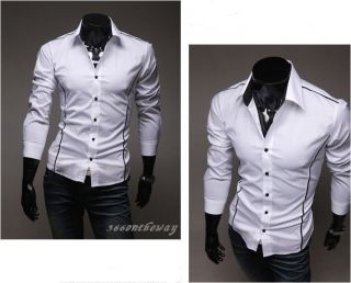 Mens Luxury Casual Slim fit Stylish Dress Shirt 3Colors 4Size E535