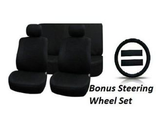 11pc SOLID BLACK Seat Covers FULL INTERIOR SET Steering Wheel Cover CS