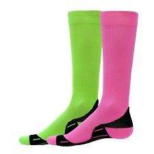 Neon Compression Running Socks High Tech Performance Knee High Green