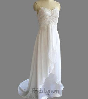 New White/Ivory Chiffon Beach Wedding Dress Bridal Gown Size6/8/10/12