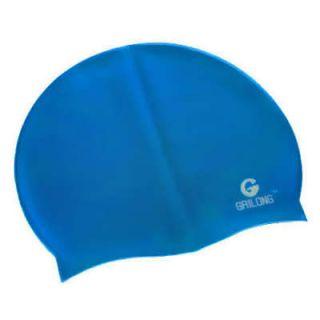 Silicone Swimming Cap w/Bag Swim Gear CERULEAN BLUE NEW