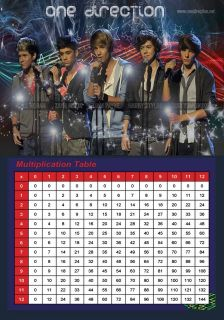 ONE DIRECTION MULTIPLICATION LEARNING CHARTS PARTY BAGS