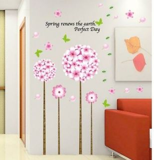 Spring flowers Removable Wall Sticker Decals Home decor Room Decal DIY