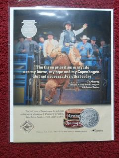 2003 Print Ad Copenhagen Smokeless Tobacco ~ Ty Murray Rodeo Bull