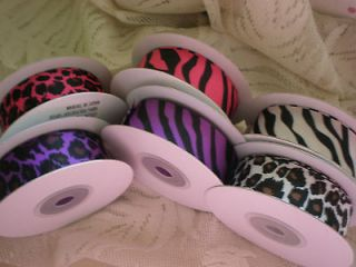 GROSGRAIN 7/8 RIBBON ANIMAL PRINTS ZEBRA LEOPARD HOT PINK PURPLE
