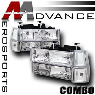 94 02 Chevy C10 C/K 1500 2500 3500 Pickup Chrome Headlights+Bum​per