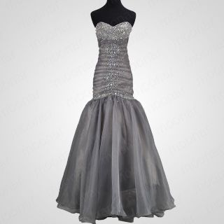 Charming Grey Sweetheart Mermaid Beaded Organza Prom Gowns Evening