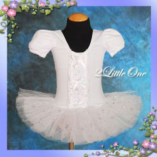 Girl White Ballet Tutu Dance Costume Fairy Fancy Dress Leotard Toddler