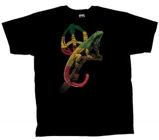 Peace Iguana T shirt Peace Sign & Reptile large