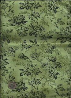 de lis Print drk green on med green Fabric by Cheri L. Strole for SSI