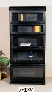Solid Mahogany Black Finish Barrister Lawyers Bookcase Bookshelf