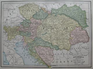 Antique Map of AUSTRIA Bosnia HUNGARY Galicia CROATIA 1886 Map Vintage