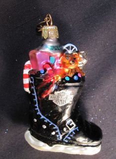 Christopher Radko Rare HARLEY DAVIDSON Santa Boot & toy Ornament MINT