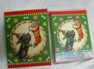 Scotty Scottie Dog and Christmas Stocking Mary Engelbreit Notecards