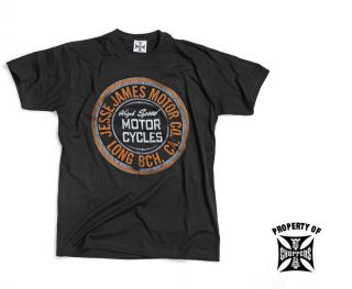 WEST COAST CHOPPERS MENS T SHIRT, JJ MOTOR OIL T SHIRT SOLID BLACK FOR