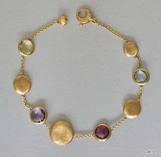 Magnificent New $2070 MARCO BICEGO Mixed Gemstone 18K Gold Bracelet