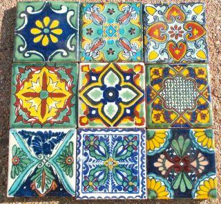 MEXICAN TALAVERA POTTERY 4 tile Hand Painted Wall Folk Art + Venice