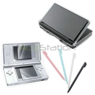Clear Hard Case+4 Stylus Pen+Screen Protector LCD Film Guard for DS