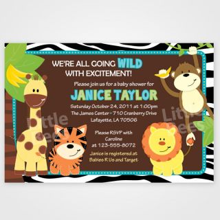 20 Zebra Jungle Safari Friends Baby Shower Invitations