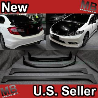 12 13+ Honda Civic 4DR Sedan EX SI Full Bumper Body Kit Lip Side Skirt