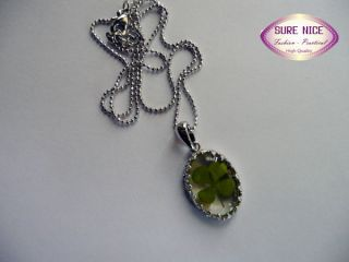 Heart Pendant with Real Four Leaf Clover Good Lucky Necklace LJ163