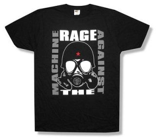 RAGE AGAINST THE MACHINE   GAS MASK BLACK T SHIRT   NEW ADULT LARGE