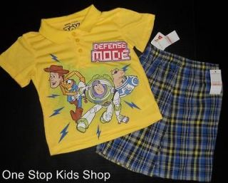 TOY STORY Toddler Boys 2T 3T 4T Set OUTFIT Shirt Shorts BUZZ & WOODY